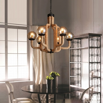 Rope Chandelier Lamp Village 6 Heads Hanging Chandelier with Global Glass Shade for Dining Room