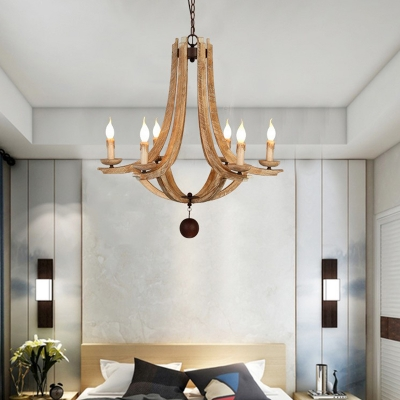 Rustic Empire Chandelier Lighting Wooden 6 Lights Pendant Light with Hanging Ball