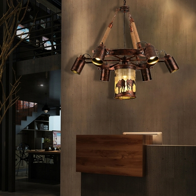 Wagon Wheel Pendant Chandelier Rustic Rope and Iron Hanging Light Fixtures for Dining Room, HL560879
