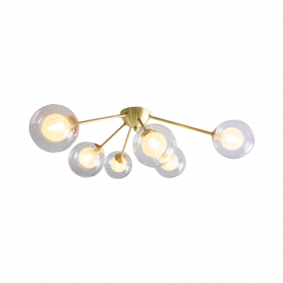 3/6 Light Globe Shade Ceiling Light Modern Glass Semi Flush Mount in Amber/Clear/Smoke for Bedroom