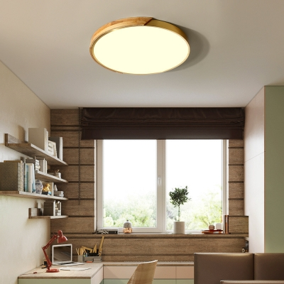 Acrylic Round Shade Flushmount Lighting Bedroom LED Nordic Wooden Ceiling Lamp