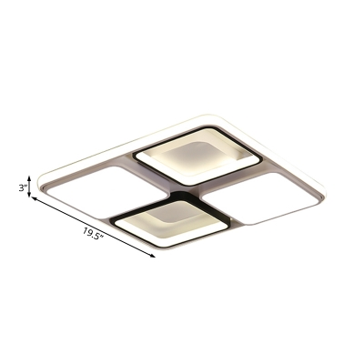 Acrylic Square Flush Light Modern Ceiling Light Fixture in Black and White for Living Room