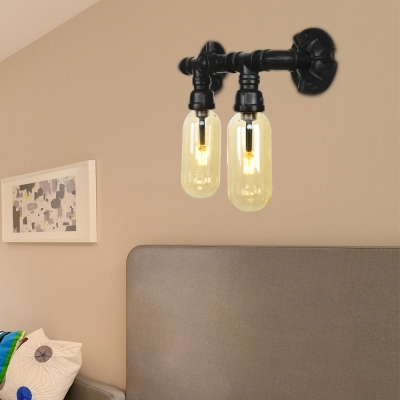 Amber Sconce Lighting Fixtures Antique Iron Pipe Sconce Lights with Switch for Bathroom