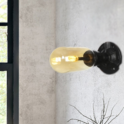 Amber Sconce Lighting Fixtures Vintage Industrial Iron and Glass Sconce Lights for Foyer