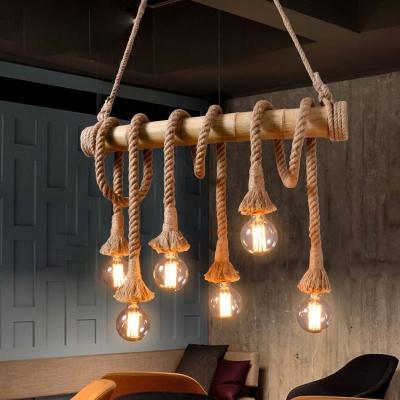 Bare Bulb Island-Light Asian Rope and Bamboo 4/6 Light Ceiling Pendant Light over Kitchen Island, HL560967