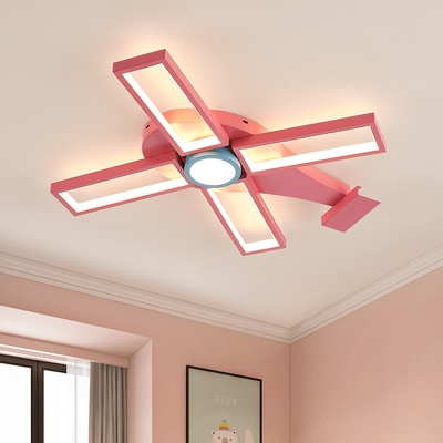 Blue/Pink Helicopter Flush Mount Light Cartoon Modern Integrated Led Ceiling Lamp