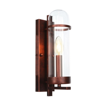 Candle Wall Mount Light Retro Style Steel 1 Light Wall Light Lamp Sconce in Rust for Bedside