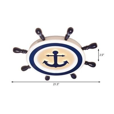 Cartoon Anchor Flush Mount with Rudder Shaped Shade Led Acrylic Flush Lighting in Navy Blue