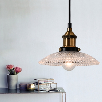 Industrial Retro Pendant Lighting Fixtures Single Light Hanging Lights with Grid Glass Shade, Antique Brass Finish, HL559453