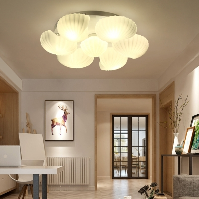 Metal Shell Ceiling Flush Light Modernism White Flushmount Lighting for Living Room