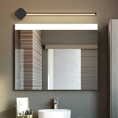 Modern Black/White Linear Wall Sconce for Bathroom, Metal and Acrylic Wall Fixture with White/Warm Lighting