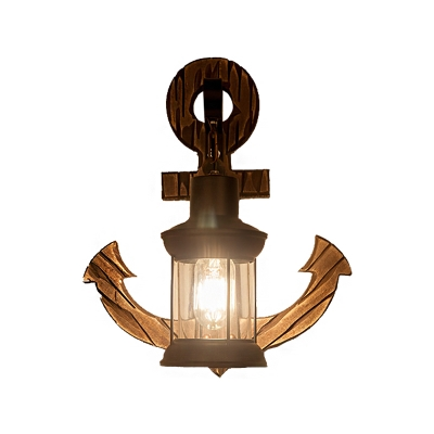 Nautical Style Lantern Sconce Lamp Iron and Glass 1 Head Sconce Light Fixture with Wooden Base in Black