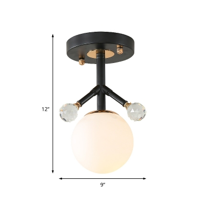 Single Light Mini Semi Flush Lighting with Orb Opal Glass Shade Industrial Foyer Ceiling Light