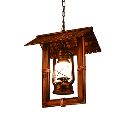 Square Ceiling Pendant Lights Nautical Glass and Iron 1 Head Hanging Pendant Lights for Restaurant