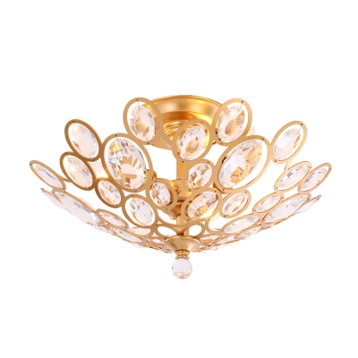 Unique Circle Ceiling Light Fixture Contemporary Crystal 3 Heads Semi Flush Light in Gold for Living Room