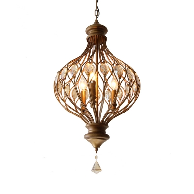 Vintage Metal Wire Chandelier Light with Clear Crystal 3 Lights Pendant Light for Dining Room
