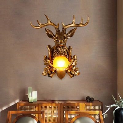1 Light Animal Wall Mount Light With Dome Shade Rustic Resin Living Room Wall Light Beautifulhalo Com