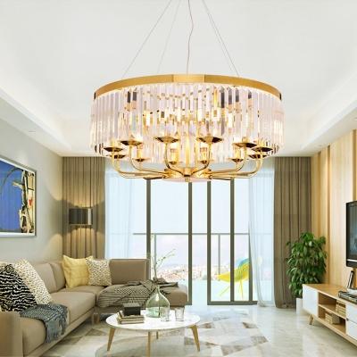 12 Light Drum Hanging Ceiling Lights Modern Crystal and Metal Pendant Lights for Living Room
