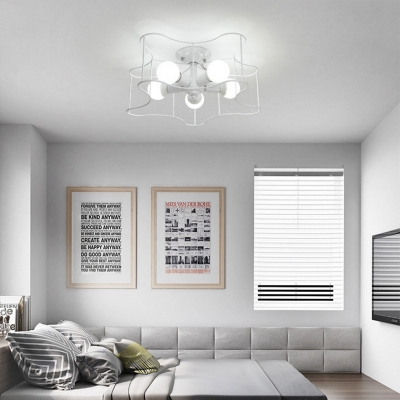 5-Light Star Ceiling Light Fixtures Modern Metal Semi Flush Chandelier for Living Room