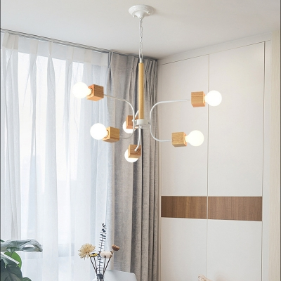 6 Lights Exposed Bulb Chandelier Light Nordic Wood and Metal Hanging Pendant Light with Chain