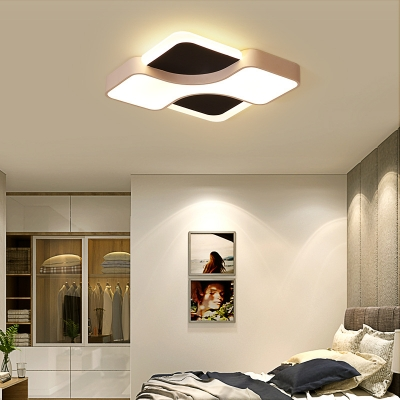Acrylic Geometry Design Flush Mount Lighting LED Modern Simple Ceiling Light in Black and White
