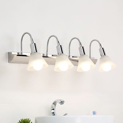 Adjustable Cone Wall Mounted Light Retro Metal Glass 2/3 Lights Wall Light Fixture with Warm/White Lighting for Vanity