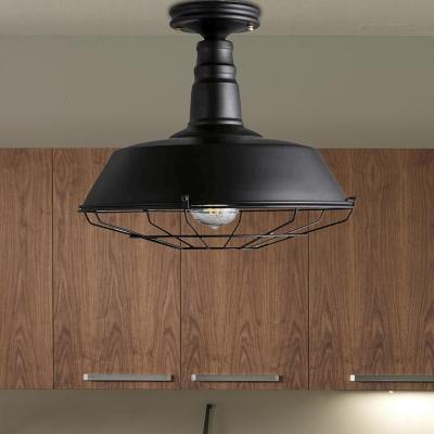 Barn Ceiling Lights Farmhouse Style Steel 1 Head Semi Flush Mount Light for Dining Table
