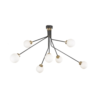 Branch Living Room Semi Flush Mount Metal 3/7 Light Modern Flush Mount Ceiling Light in Black