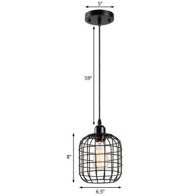 Cylindrical Wire Cage Hanging Lamp Retro Style 1 Bulb Black Pendant Lighting for Bar