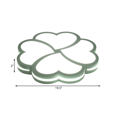 Green/Pink/Yellow Flower Ceiling Light Contemporary Acrylic Flush Mount Fixture for Bedroom