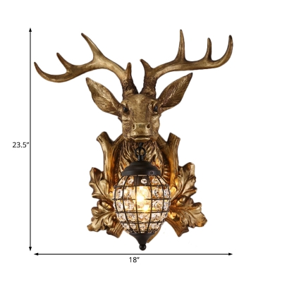 Indutrial Rustic Deer Wall Sconce Resin Single Wall Mount Light with Metal Teardrop Shade