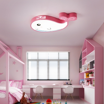 Lovely Whale Flushmount Light Metal Led Cartoon Flush Ceiling Light with Frosted Diffuser