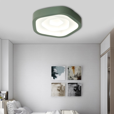 Macaron Pentagon Flush Mount Ceiling Light LED Acrylic Flush Light for Bedroom