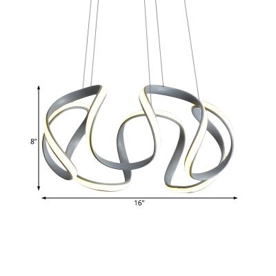 Metal Waving Ceiling Pendant Light Modernism Integrated Led Ambient Lighting