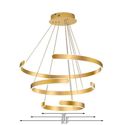 Metallic C Shape Ceiling Pendant Light Modernism Led Ambient Lighting in Gold