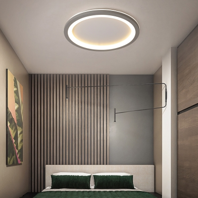 Metallic Circular Flush Lighting Nordic Style LED Flush Mount Suction Lamp in Gray