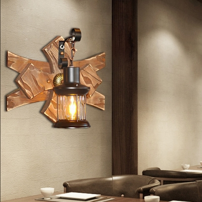 Nautical Sconce Lamp Iron 1 Head Unique Sconce Light Fixture with Wooden Base for Bar
