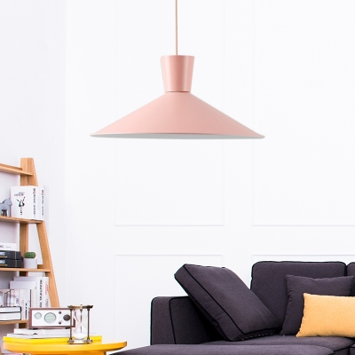 Nordic Style Flared Hanging Light Iron Single-Bulb Pendant Ceiling Light for Living Room