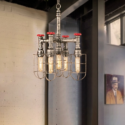 Red Valve Hanging Light Fixtures Retro Iron 5 Lights Cage Pendant Chandelier in Olde Silver Gray for Indoor