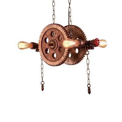 Rust Gear Ceiling Pendant Light Vintage Metal 4 Lights Open Bulb Hanging Lamps for Restaurant