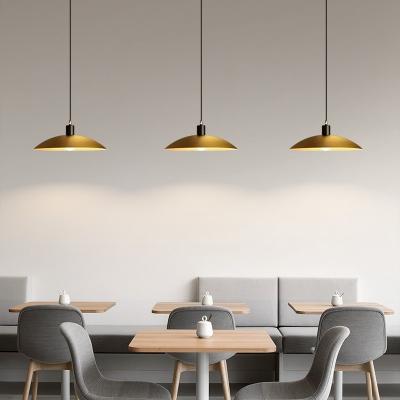 Satin Brass Domed Pendant Ceiling Light Aged Metal Single Light Hanging Light Fixtures for Island