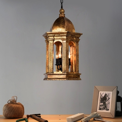 Vintage Lantern Chandelier Light Metallic 3 Lights Foyer Pendant Light in Gold