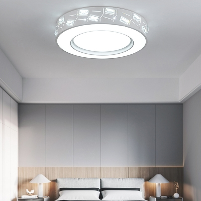 White Drum Flushmount Lighting with Crystal Prism Contemporary Led Flush Ceiling Light