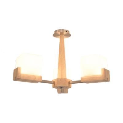 Modern Square Semi Flush Ceiling Light Wood 3/5/8-Light Wood Ceiling Light for Living Room