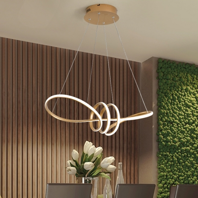Acrylic Seamless Curves Chandelier Light Modern Led Pendant Lighting in Gold