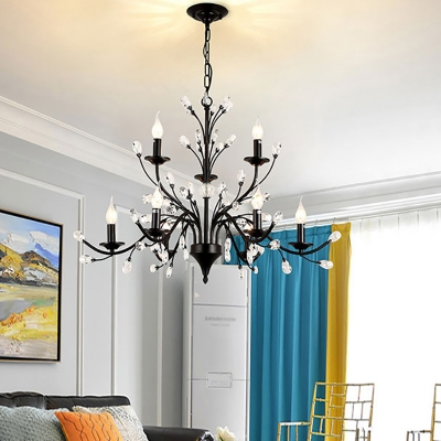 Black Candle Pendant Lighting Traditional Iron 3/6/9/12 Lights Hanging Chandelier with Crystal Decoration
