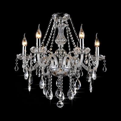 Chrome Candle Hanging Chandelier Traditional Crystal 6/8 Light Pendant Hanging Lights for Living Room