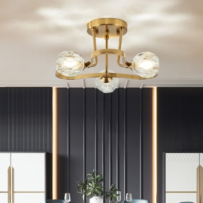 Clear Crystal Semi Flush Lighting Vintage 3/6 Lights Semi Flush Mount Light in Gold