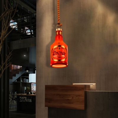 Colorful Bottle Glass Ceiling Pendant Lights 1 Head Rope Hanging Pendant Lights for Restaurant
