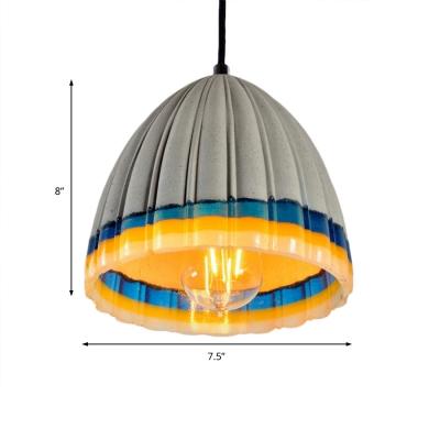 Contemporary Cement Pendant Single Dome Pendant Light with Edison Bulb over Kitchen Island